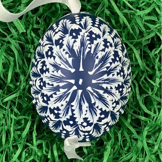 Blue and White Eastern European Egg Ornament ~ Handmade in Slovakia