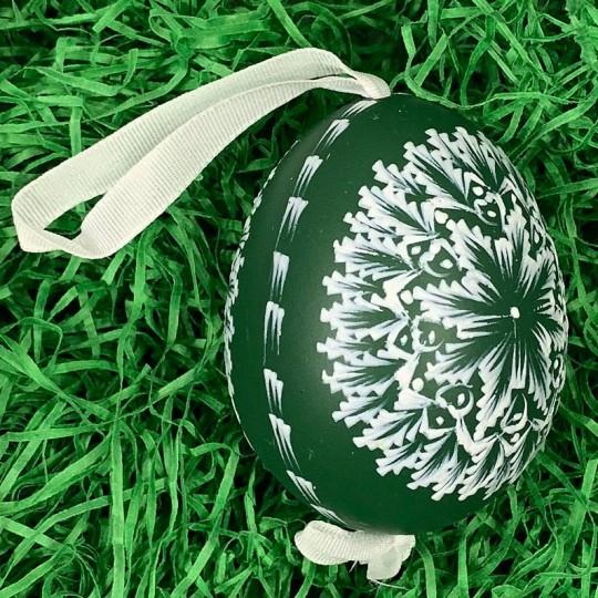 Green and White Eastern European Egg Ornament ~ Handmade in Slovakia