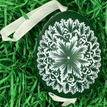 Green and White Eastern European Egg Ornament ~ Handmade in Slovakia