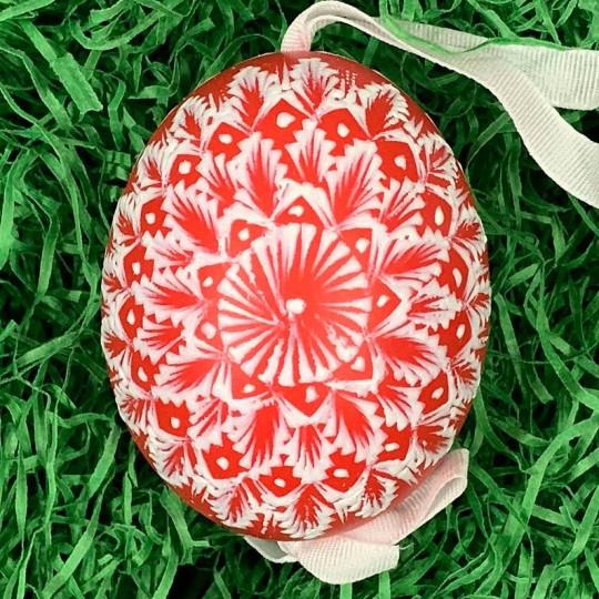 Red and White Eastern European Egg Ornament ~ Handmade in Slovakia