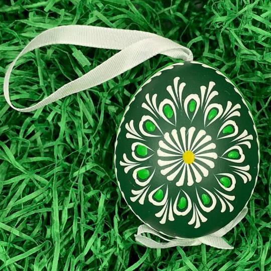 Green Folkloric Floral Eastern European Egg Ornament ~ Handmade in Slovakia