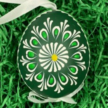 Green Folkloric Floral Eastern European Egg Ornament ~ Handmade in Slovakia