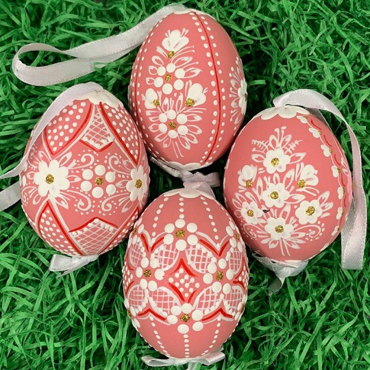 Coral Folkloric Dot and Flowers Eastern European Egg Ornament ~ Handmade in Slovakia