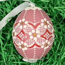 Mauve Folkloric Dot and Flowers Eastern European Egg Ornament ~ Handmade in Slovakia