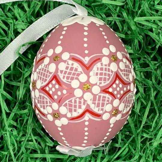 Mauve Folkloric Dot and Flowers Eastern European Egg Ornament ~ Handmade in Slovakia