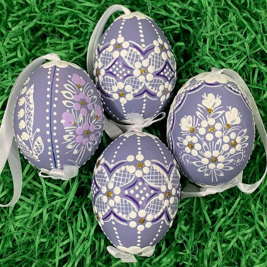 Purple Folkloric Dot and Flowers Eastern European Egg Ornament ~ Handmade in Slovakia