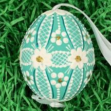 Teal Folkloric Dot and Flowers Eastern European Egg Ornament ~ Handmade in Slovakia