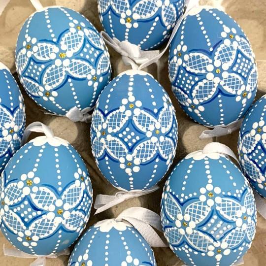Bright Blue Folkloric Dot and Flowers Eastern European Egg Ornament ~ Handmade in Slovakia