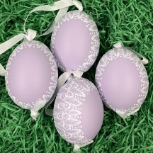Purple Frosted Frame Easter Egg Ornament ~ Handmade in Slovakia ~ 1 egg