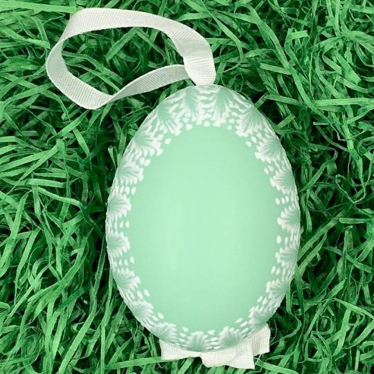 Teal Frosted Frame Easter Egg Ornament ~ Handmade in Slovakia ~ 1 egg