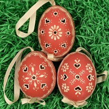Perforated Brick Red Folkloric Eastern European Egg Ornament ~ Handmade in Slovakia
