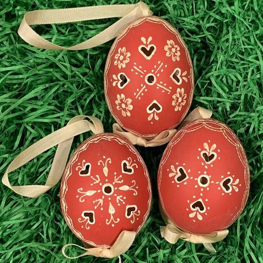 Perforated Brick Red Folkloric Eastern European Egg Ornament ~ Handmade in Slovakia