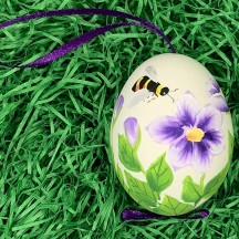 Bee and Purple Floral Eastern European Egg Ornament ~ Large Duck Egg~ Handmade in Slovakia
