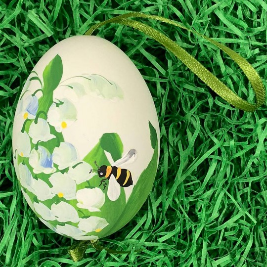 Bee and Lily of the Valley Floral Eastern European Egg Ornament ~ Large Duck Egg~ Handmade in Slovakia