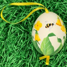 Bee and Yellow Floral Eastern European Egg Ornament ~ Large Duck Egg~ Handmade in Slovakia