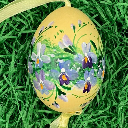 Violets on Yellow Speckle Eastern European Egg Ornament ~ Large Duck Egg~ Handmade in Slovakia