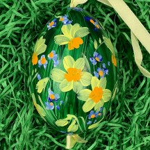 Daffodil Meadow Eastern European Egg Ornament ~ Large Duck Egg~ Handmade in Slovakia