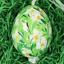 Green Daisy Meadow Eastern European Egg Ornament ~ Large Duck Egg~ Handmade in Slovakia