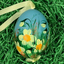 Daffodils on Teal Eastern European Egg Ornament ~ Large Duck Egg~ Handmade in Slovakia