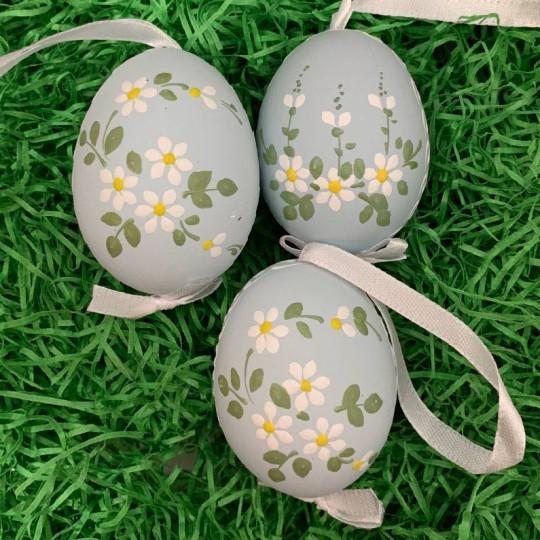 Daisies on Pale Blue Eastern European Floral Egg Ornament ~ Handmade in Slovakia