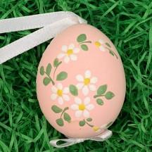Daisies on Pink Eastern European Floral Egg Ornament ~ Handmade in Slovakia