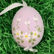 Daisies on Purple Eastern European Floral Egg Ornament ~ Handmade in Slovakia