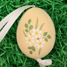 Daisies on Yellow Eastern European Floral Egg Ornament ~ Handmade in Slovakia