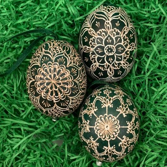 Dark Green Mandala Folkloric Eastern European Egg Ornament ~ Handmade in Slovakia ~ Wax Etched