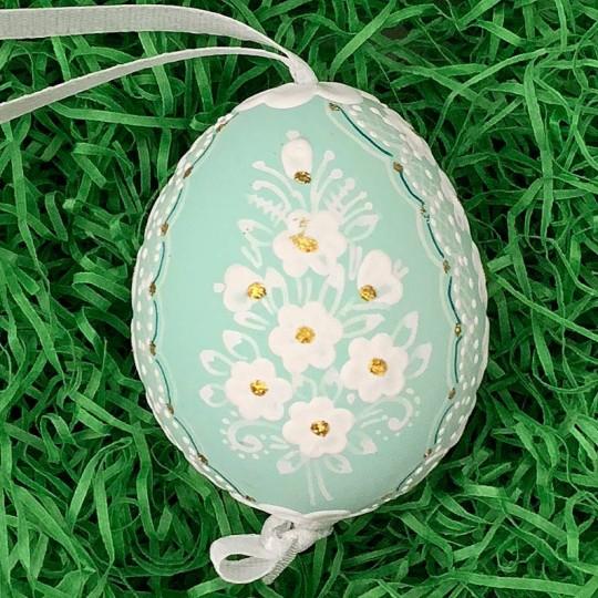 Aqua Folkloric Dot and Flowers Eastern European Egg Ornament ~ Handmade in Slovakia