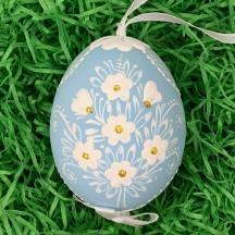 Light Blue Folkloric Dot and Flowers Eastern European Egg Ornament ~ Handmade in Slovakia