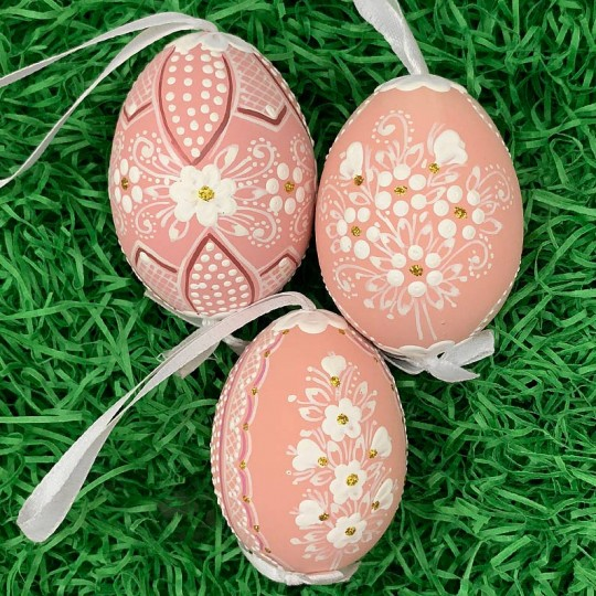 Dusty Pink Folkloric Dot and Flowers Eastern European Egg Ornament ~ Handmade in Slovakia