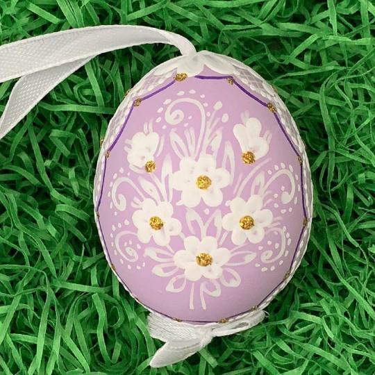 Lavender Purple Folkloric Dot and Flowers Eastern European Egg Ornament ~ Handmade in Slovakia