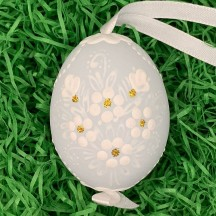 Pale Blue Folkloric Dot and Flowers Eastern European Egg Ornament ~ Handmade in Slovakia