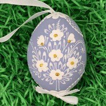 Periwinkle Purple Folkloric Dot and Flowers Eastern European Egg Ornament ~ Handmade in Slovakia