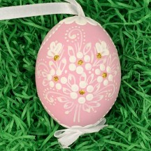 Pink Folkloric Dot and Flowers Eastern European Egg Ornament ~ Handmade in Slovakia