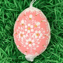 Salmon Folkloric Dot and Flowers Eastern European Egg Ornament ~ Handmade in Slovakia