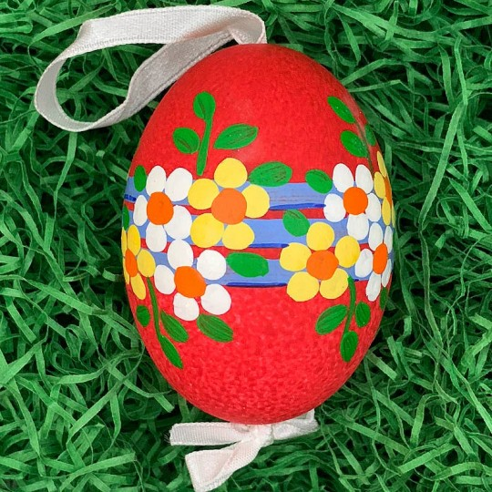 Red Floral Eastern European Egg Ornament ~ Large Duck Egg~ Handmade in Slovakia