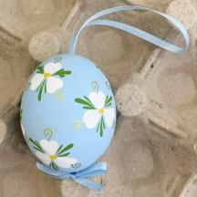 Blue Floral Eastern European Easter Egg Ornament ~ Handmade in Slovakia