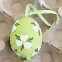 Green Floral Eastern European Easter Egg Ornament ~ Handmade in Slovakia