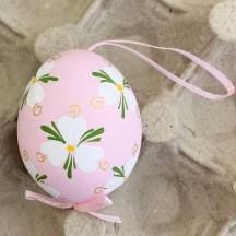 Pink Floral Eastern European Easter Egg Ornament ~ Handmade in Slovakia
