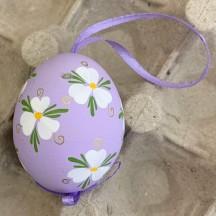 Purple Floral Eastern European Easter Egg Ornament ~ Handmade in Slovakia