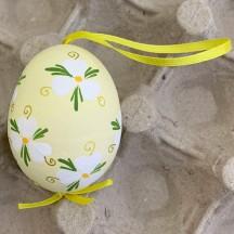 Yellow Floral Eastern European Easter Egg Ornament ~ Handmade in Slovakia