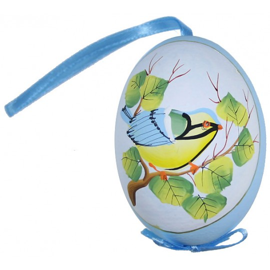 Blue Bird on Branch Eastern European Egg Ornament ~ Handmade in Slovakia