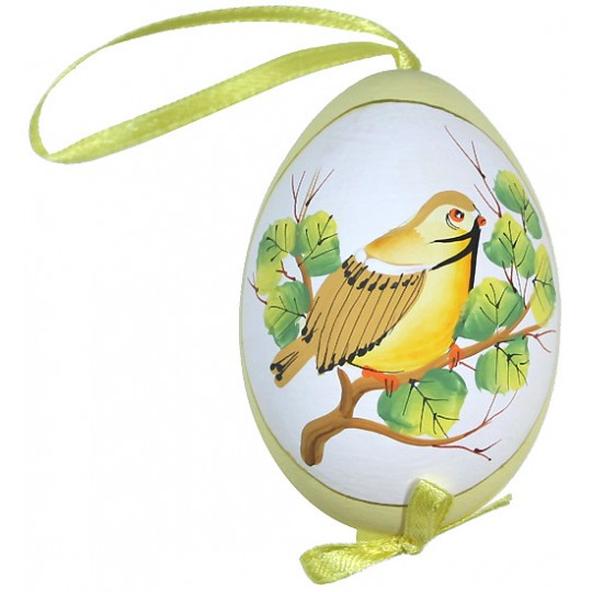 Yellow Bird on Branch Eastern European Egg Ornament ~ Handmade in Slovakia