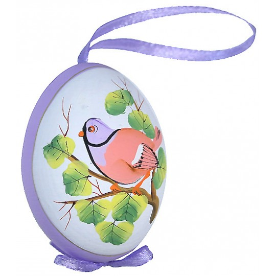 Purple Bird on Branch Eastern European Egg Ornament ~ Handmade in Slovakia