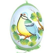 Green Bird on Branch Eastern European Egg Ornament ~ Handmade in Slovakia