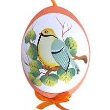 Orange Bird on Branch Eastern European Egg Ornament ~ Handmade in Slovakia