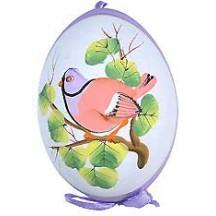 Purple Bird on Branch Eastern European Egg Ornament ~ Handmade in Slovakia