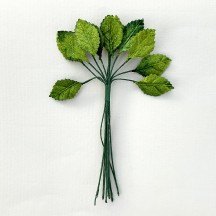 "12 Green Velvet Leaves ~ 1"" Long"