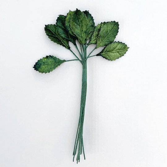 "12 Mixed Green Velvet Leaves ~ 1"" Long"